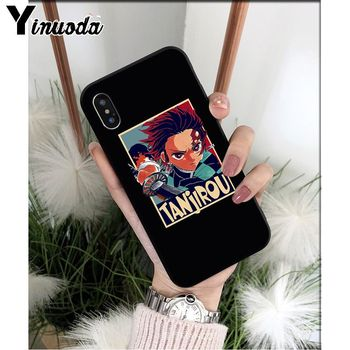 Yinuoda Anime Demon Slayer Kimetsu nr. Yaiba TPU Soft black Telefono dėklas skirtas Apple iPhone 8 7 6 6S Plus X XS MAX 5 5S SE XR Dangtis